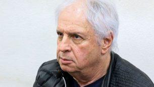 شاؤول ايلوفيتش يحضر جلسة تمديد اعتقله في محكمة الصلح في ريشون لتسيون، 18 فبراير 2018 (Flash90)