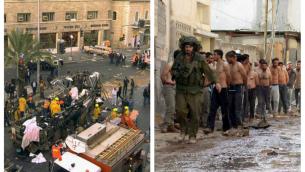 اليسار: مشهد تفجير حافلة عام 1996 في وسط مدينة القدس. اليمين: فلسطينيون معتقلون في جنين، 2002، خلال الانتفاضة الثانية. (Courtesy Ian Black)