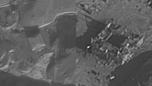 مفاعل الكبار النووي في سوريا قبل، من اليسار، وبعد، من اليمين، تدميره من قبل إسرائيل، 6 سبتبمر، 2007. (الجيش الإسرائيلي)