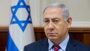 رئيس الوزراء بينيامين نتتنياهو يترأس الجلسة الأسبوعية للحكومة في مقر رئيس الوزراء في القدس، 25 مارس، 2018. (Marc Israel Sellem)