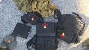 ملابس عسكرية اسرائيلية تم العثور عليها اثناء محاولة تهريبها الى غزة في معبر كرم ابو سالم (Defense Ministry)