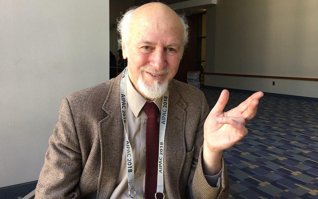 جيروم سيغال، الفيلسوف اليهودي الذي ألهم إعلان الاستقلال الفلسطيني، في مؤتمر ايباك، 4 مارس، 2018. (Ron Kampeas / JTA)