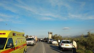 مشهد هجوم اصطدام سيارة في الضفة الغربية في 16 مارس 2018. (Magen David Adom)