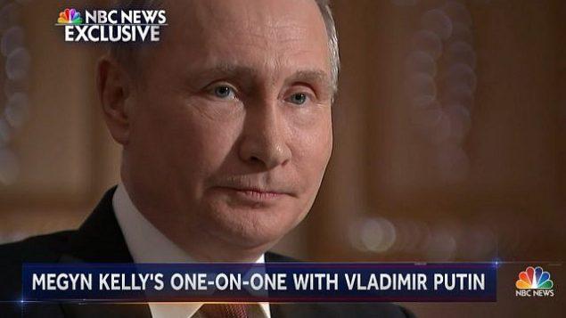 الرئيس الروسي فلاديمير بوتين يتحدث مع ميغين كيلي في قناة ان بي سي في موسكو في 1 مارس 2018. (Screen capture: NBC)