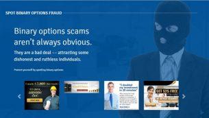 صورة شاشة من موقع حكومي كندي يهدف لتحذير المواطنين من احتيال الخيارات الثنائية