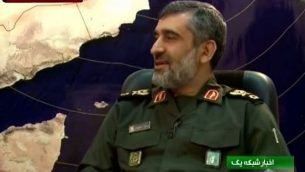 قائد القوة الجوفضائية لحرس الثورة الإسلامية، البريغادير جنرال أمير علي حاجي زاده. (لقطة شاشة: YouTube/MEMRITVVideos)