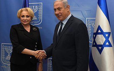 رئيس الوزراء بنيامين نتنياهو يلتقي برئيسة الوزراء الرومانية فيوريكا دانتشيلا في القدس، 26 ابريل 2018 (Haim Tzach/GPO)