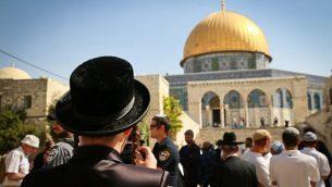 يهود يقومون بزيارة الحرم القدسي  خلال عيد السوكوت اليهودي، 8 أكتوبر، 2017. (Flash90/Yaakov Lederman)