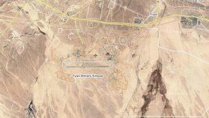 قاعدة التياس، أو T-4، الجوية خارج مدينة تدمر السورية، والتي تزعم إسرائيل إنه يتم تشغيلها من قبل إيران وفيلق القدس التابع لها. (Screen capture/Wikimapia)