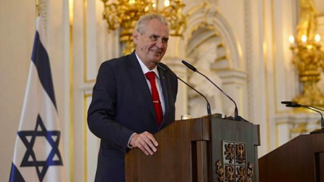 رئيس جمهورية التشيك ميلوش زيمان خلال حدث بمناسبة يوم استقلال اسرائيل السبعين في براغ، 25 ابريل 2018 (Facebook)