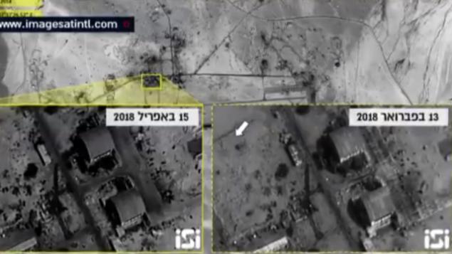 صورة أقمار اصطناعية لقاعدة T-4 في سوريا قبل وبعد الغارة الجوية في 9 أبريل. (Screenshot/Channel 10)
