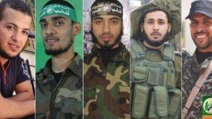 حركة حماس تنشر صور عناصر جناحها العسكري التي أقرت بأنهم كانوا من بين القتلى ال16 في المواجهات مع الجيش الإسرائيلي على السياج الحدودي عند السباج الحدودي بين غزة وإسرائيل الجمعة، 30 مارس، 2018.