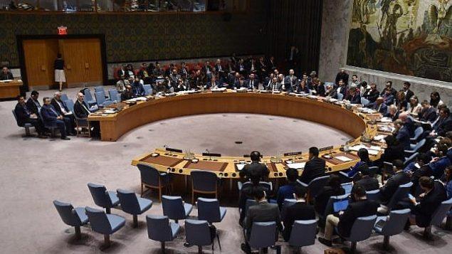 اجتماع لمجلس الأمن الدولي في 14 أبريل 2018، في مقر الأمم المتحدة في نيويورك. (AFP/ Hector Retamal)