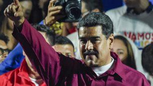 ؤئيس فنزويلا نيكولاس مادورو عند الاعلان عن نتائج الانتخابات وفوزه بوالية  ثانية، 20 مايو 2018 (JUAN BARRETO / AFP)
