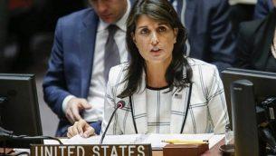 السفيرة الأمريكية لدى الأمم المتحدة نيكي هايلي خلال كلمة لها في جلسة طارئة لمجلس الأمن التابع للأمم المتحدة حول الصراع بين إسرائيل وغزة في مقر الأمم المتحدة في 30 مايو، 2018، في مدينة نيويورك.  (Eduardo Munoz Alvarez/Getty Images/AFP)