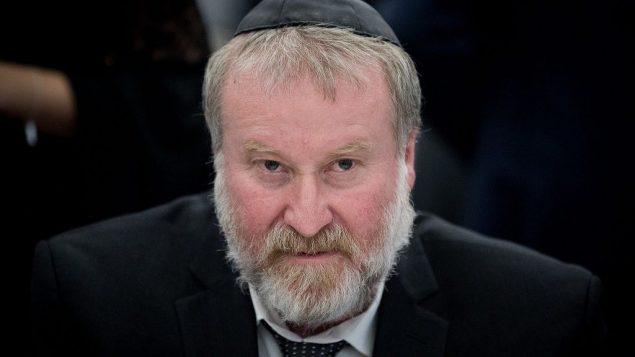 المدعي العام أفيحاي ماندلبليت في مؤتمر في القدس في 5 فبراير، 2018. (Yonatan Sindel/Flash90)