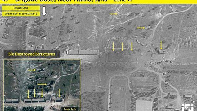 صور أقمار اصطناعية تظهر نتائج غارة جوية إسرائيلية مزعومة على قاعدة إيرانية مزعومة خارج مدينة حماة في شمال سوريا في اليوم السابق، 30 أبريل، 2018. 2018. (ImageSat International ISI)