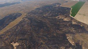 صور هوائية للدمار الهائل الناتج عن الطائرات الورقية المشتعلة الصادرة من غزة في محمية بئيري الطبيعية بالقرب من غزة (DRONEIMAGEBANK)