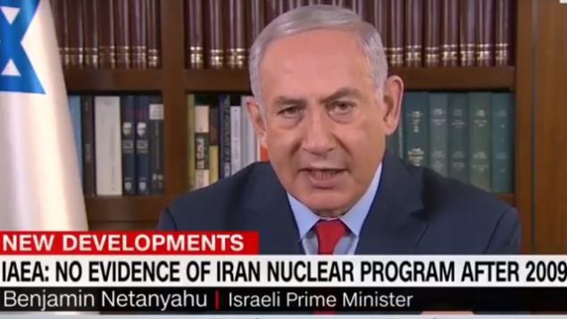 """رئيس الوزراء بنيامين نتنياهو في مقابلة مع """"يوم جديد"""" سي إن إن في 1 مايو 2018. (لقطة شاشة: يوتيوب)"""