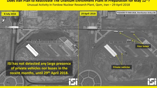 صورة أقمار اصطناعية من 29 أبريل، 2018، تظهر نشاطا حديثا في محطة فودرو النووية. (ImageSat International ISI)
