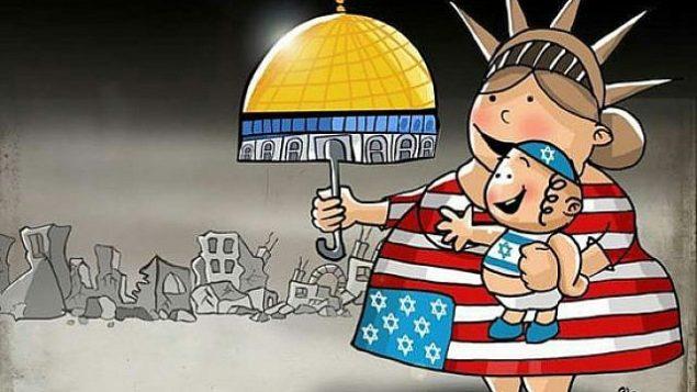 رسم كاريكاتوري تم استبدال النجوم التي تمثل الولايات الخمسين على العلم الأمريكي بنجمة داوود، بينما تقوم الولايات المتحدة بإعطاء المسجد الأقصى في القدس لإسرائيل، من صحيفة 'اليوم السابع'، 15 مايو، 2018. (via the Anti-Defamation League)