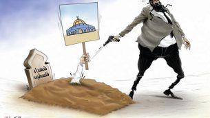 رسم كاريكاتوري يظهر شاهد قبر كُتب عليه 'شهداء فلسطين' من صحيفة 'البيان' الإماراتية، 18 مايو، 2018. (via the Anti-Defamation League)
