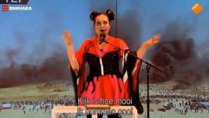 """محاكاة ساخرة هولندية لأغنية """"لعبة"""" الفائرة في المسابقة الغنائية  يوروفيجن التي اتهمت بأنها معادية للسامية. (Screencapture / YouTube)"""