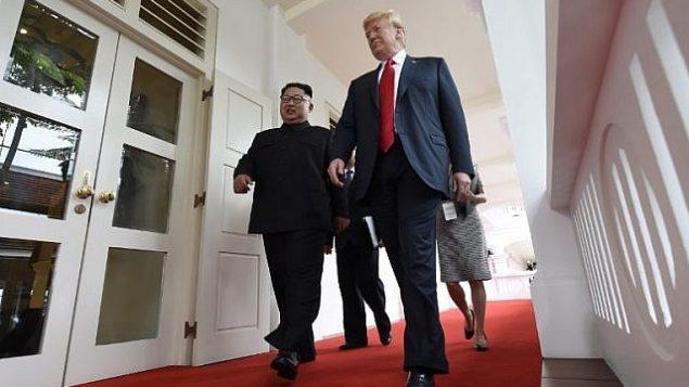 زعيم كوريا الشمالية كيم جونغ أون (من اليسار) يسير إلى جانب الرئيس الأمريكي دونالد ترامب (من اليمين) مع بداية القمة الأمريكية-الكورية الشمالية التاريخية بينهما في فندق 'كابيلا' في جزيرة سنتوسا في سنغافورة، 12 يونيو، 2018.(AFP PHOTO / SAUL LOEB)