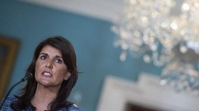 السفيرة الأمريكي في الأمم المتحدة نيكي هالي تتحدث في وزارة الخارجية الأمريكية في واشنطن العاصمة في 19 يونيو 2018. (AFP Photo / Andrew Caballero-Reynolds)