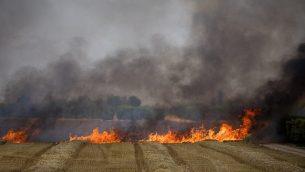 طواقم الإطفاء تعمل على إخماد النيران في حقل قمح ناجم عن تطيير طائرات ورقية من قبل متظاهرين فلسطينيين، بالقرب من الحدود مع قطاع غزة، 30 مايو، 2018.(Yonatan Sindel/Flash90)