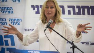 عضو الكنيست تسيبي ليفني خلال جلسة لقائمة المعسكر الصهيوني في الكنيست، 11 يونيو 2018 (Hadas Parush/Flash90)