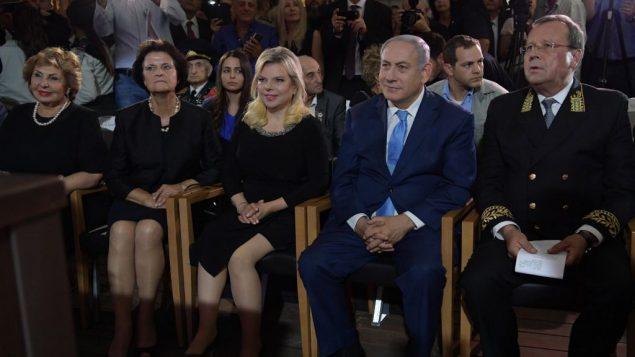 رئيس الوزراء بنيامين نتنياهو في احتفال بيوم روسيا في ساحة سيرغي في القدس، 14 يونيو 2018 (Amos Ben-Gershom/GPO)