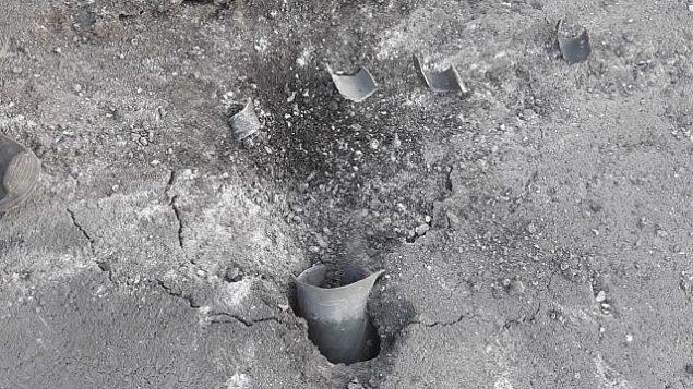 صاروخ اطلق من غزة وسقط في احدى بلدات منطقة اشكول، 20 يونيو 2018 (Eshkol Regional Council)