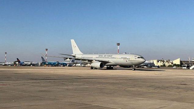 طائرة الأمير وليام تصل مطار بن غوريون الدولي، 25 يونيو 2018 (UK Embassy)