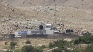 قاعدة تابعة للأمم المتحدة في المنطقة العازلة منزوعة السلاح بين اسرائيل وسوريا في مرتفعات الجولان، ورد ان قوات موالية للأسد سيطرت عليها، يونيو 2018 (Kan screen capture)