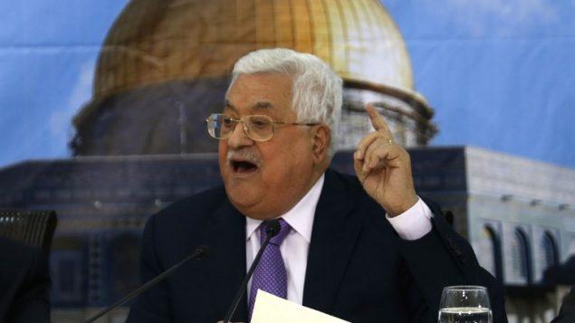رئيس السلطة الفلسطينية محمود عباس خلال اجتماع للمجلس المركزي الفلسطيني في رام الله، 15 اغسطس 2018 (ABBAS MOMANI/AFP)