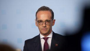 وزير الخارجية الألماني هيكو ماس يدلي ببيان قبل اجتماع غير رسمي لوزراء خارجية الاتحاد الأوروبي (Gymnich) في فيينا، النمسا، في 30 أغسطس 2018. (ALEX HALADA / AFP)