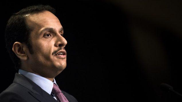 وزير الخارجية القطري محمد بن عبد الرحمن آل ثاني في المركز العربي في واشنطن، 29 يونيو 2017 (AFP Photo/Brendan Smialowski)