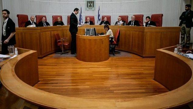 صورة توضيحية: محكمة العدل العليا خلال جلسة. (Miriam Alster/Flash90)