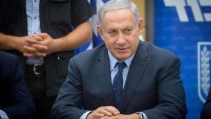 رئيس الوزراء بينيامين نتنياهو يترأس اجتماع فصيل حزب 'الليكود' في الكنيست، 16 يوليو 2018 (Miriam Alster/Flash90)
