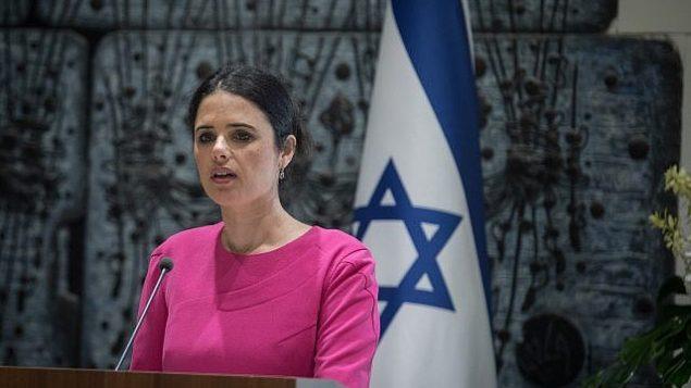 وزيرة العدل أييليت شاكيد تلقي كلمة خلال مراسم في مقر إقامة رئيس الدولة في القدس، 9 أغسطس، 2018.  (Hadas Parush/Flash90)