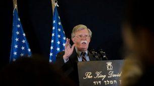 مستشار الأمن القومي الأمريكي، جون بولتون، في مؤتمر صحفي عُقد في القدس، 22 أغسطس، 2018.  (Yonatan Sindel/Flash90)