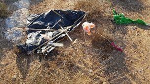 طائرة محملة بمواد حارقة سقطت في كرم إسرائيلي في الضفة الغربية، 6 أغسطس، 2018.(Tura Winery)