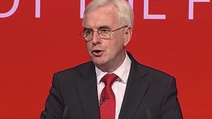 وزير حكومة الظل البريطاني جون ماكدونيل في مؤتمر العمل السنوي 2017 في برايتون. (تصوير شاشة: يوتيوب)