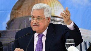 رئيس السلطة الفلسطينية محمود عباس يلقي خطاب في 15 أغسطس، 2018. (WAFA)