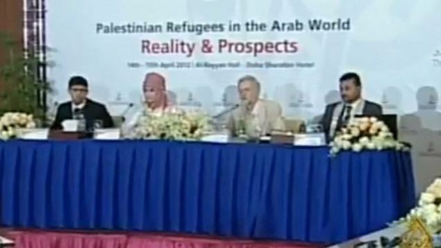 رئيس حزب 'العمال' البريطاني جيريمي كوربين (الثاني من اليمين) يشارك في مؤتمر عُقد في عام 2012 في الدوحة إلى جانب عدد من قادة في حركة 'حماس' أدينوا بقتل إسرائيليين. (Screen capture: Twitter)