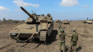قوات إسرائيلية تشارك في مناورة عسكرية في هضبة الجولان في أغسطس، 2018. (الجيش الإسرائيلي)