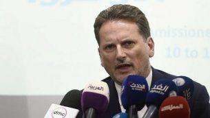 المفوض العام لوكالة الأمم المتحدة لإغاثة وتشغيل اللاجئين الفلسطينيين (أونروا)، بيير كرينبول، يتحدث خلال مؤتمر صحفي في مركز الأمم المتحدة للإعلام في القاهرة، 10 سبتمبر، 2018.  (AFP PHOTO / Khaled DESOUKI)