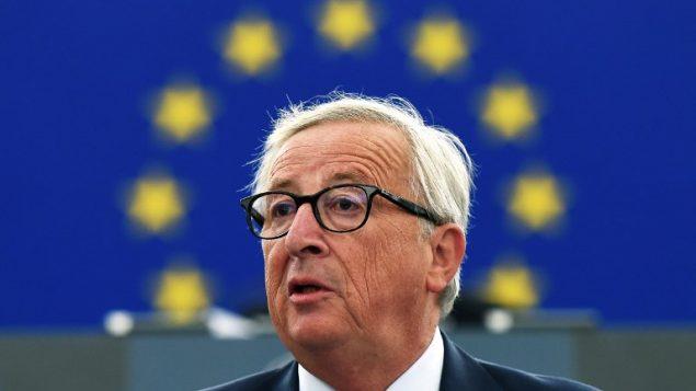 رئيس المفوضية الاوروبية جان كلود يونكر في خطاب حول حالة الاتحاد أمام البرلمان الأوروبي في ستراسبورغ، فرنسا، 12 سبتمبر 2018 (FREDERICK FLORIN / AFP)