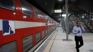 منظر جزئي لمنصة القطار في محطة القطار الجديد عالي السرعة بين القدس وتل أبيب، في محطة يتسحاك نافون  في القدس في 20 سبتمبر 2018. (AFP / THOMAS COEX)